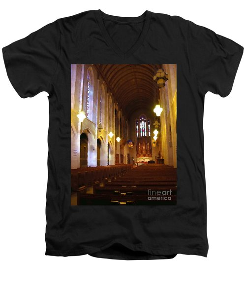 Abstract - Egner Memorial Chapel Interior Men's V-Neck T-Shirt by Jacqueline M Lewis