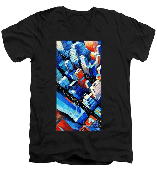 Abstract New York Sky View Men's V-Neck T-Shirt