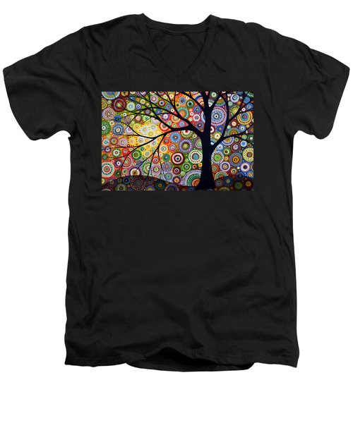 Men's V-Neck T-Shirt featuring the painting Abstract Original Modern Tree Landscape Visons Of Night By Amy Giacomelli by Amy Giacomelli