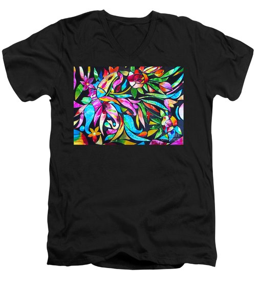 Men's V-Neck T-Shirt featuring the painting Abstract Paisley And Flowers by Roberto Gagliardi