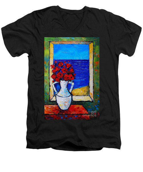Abstract Poppies By The Sea Men's V-Neck T-Shirt