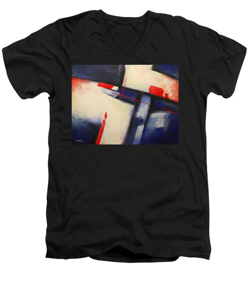 Abstract Red Blue Men's V-Neck T-Shirt
