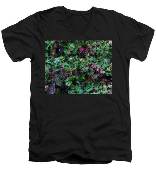 Men's V-Neck T-Shirt featuring the digital art Abstraction 121514 by David Lane
