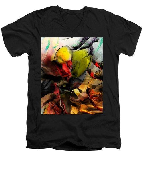 Abstraction 122614 Men's V-Neck T-Shirt by David Lane