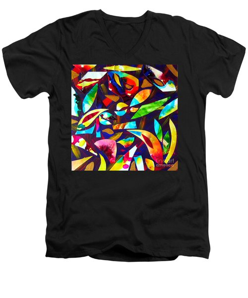 Men's V-Neck T-Shirt featuring the painting Abstraction And Colorful Thoughts by Roberto Gagliardi