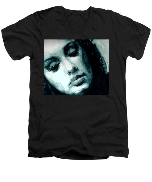 Adele In Watercolor Men's V-Neck T-Shirt by Laur Iduc
