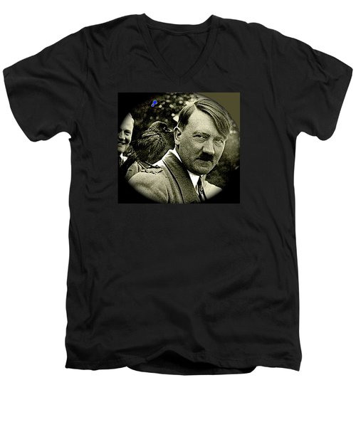 Adolf Hitler And A Feathered Friend C.1941-2008 Men's V-Neck T-Shirt by David Lee Guss