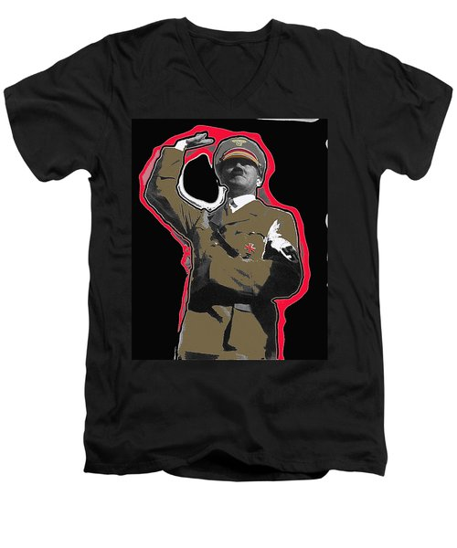 Adolf Hitler Saluting 2 Circa 1933-2009 Men's V-Neck T-Shirt by David Lee Guss