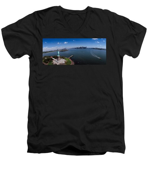 Aerial View Of A Statue, Statue Men's V-Neck T-Shirt