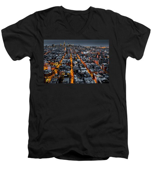 Aerial View Of New York City At Night Men's V-Neck T-Shirt
