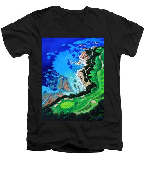 Aerial View Of Pebble Beach Men's V-Neck T-Shirt