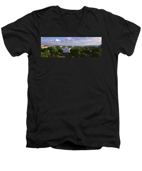 Aerial, White House, Washington Dc Men's V-Neck T-Shirt by Panoramic Images