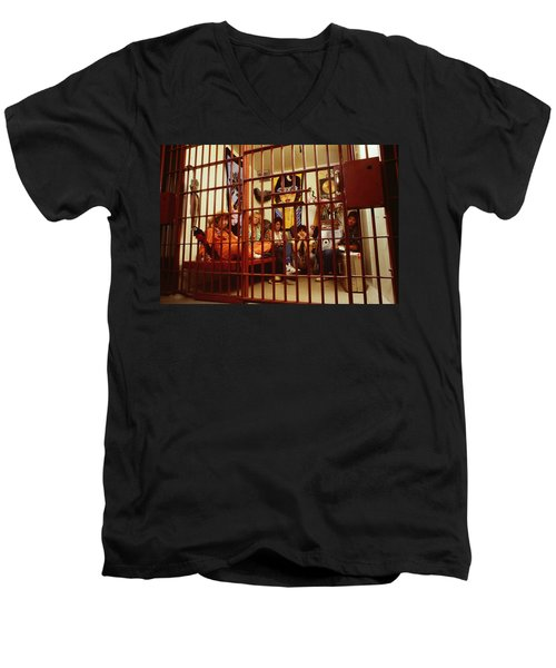 Aerosmith - In A Cage 1980s Men's V-Neck T-Shirt by Epic Rights