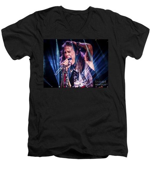 Aerosmith Steven Tyler Singing In Concert Men's V-Neck T-Shirt by Jani Bryson