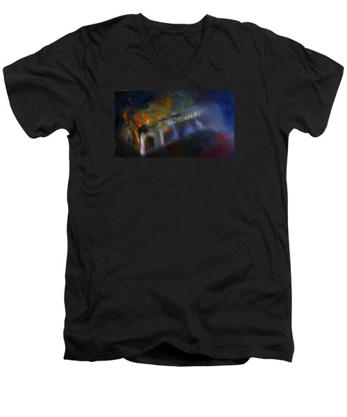 Men's V-Neck T-Shirt featuring the painting Aflame by Lisa Kaiser