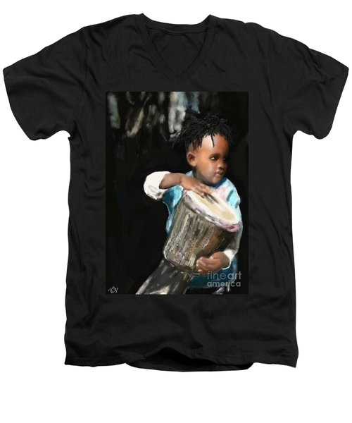 Men's V-Neck T-Shirt featuring the painting African Drummer Boy by Vannetta Ferguson