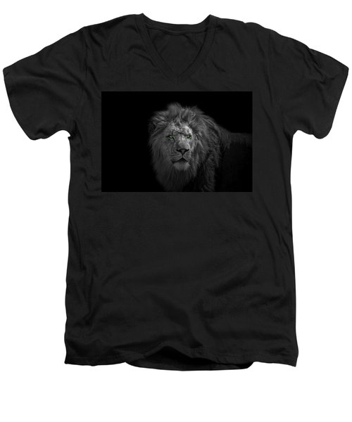 Men's V-Neck T-Shirt featuring the photograph African Lion by Peter Lakomy