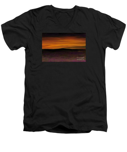 Men's V-Neck T-Shirt featuring the painting African Sky by Rand Herron