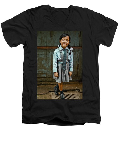 After School Pose Men's V-Neck T-Shirt by Valerie Rosen