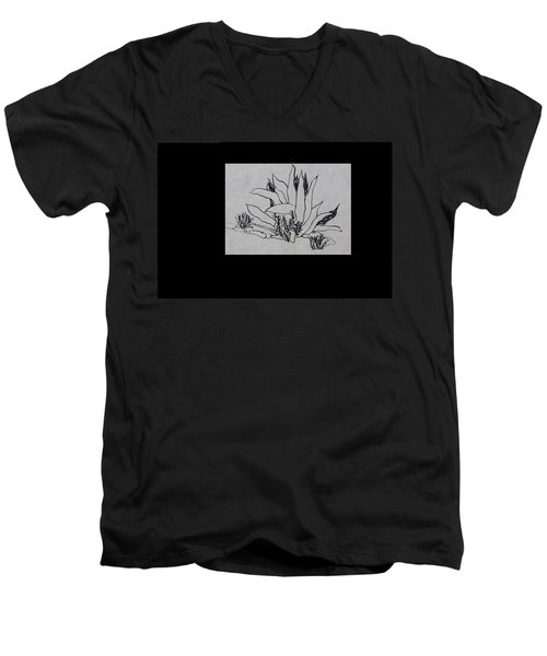 Agave Men's V-Neck T-Shirt by Erika Chamberlin