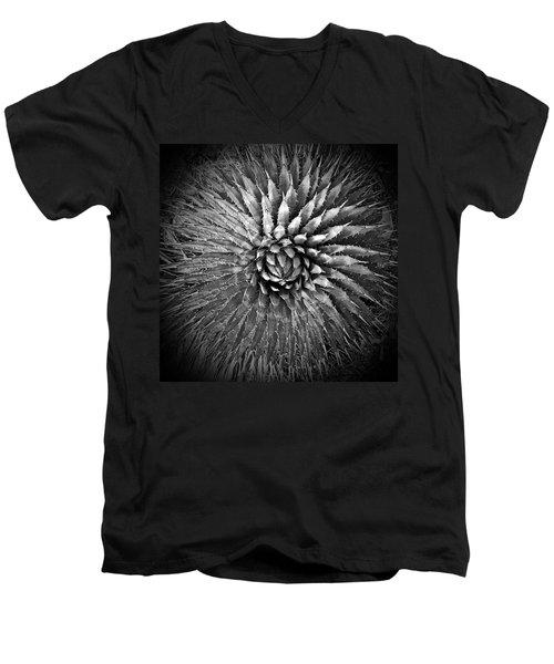 Agave Spikes Black And White Men's V-Neck T-Shirt