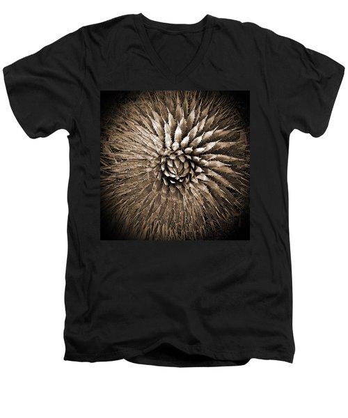 Agave Spikes Sepia Men's V-Neck T-Shirt by Alan Socolik