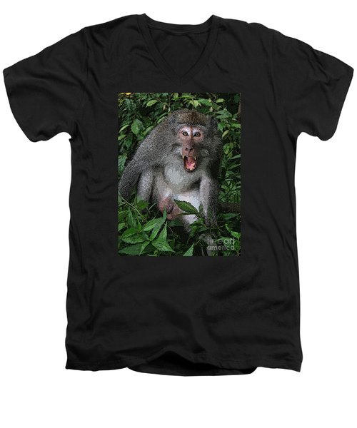 Men's V-Neck T-Shirt featuring the photograph  Aggressive Monkey From Bali by Sergey Lukashin