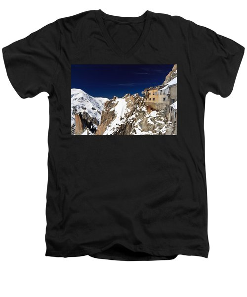 Men's V-Neck T-Shirt featuring the photograph Aiguille Du Midi -  Mont Blanc Massif by Antonio Scarpi