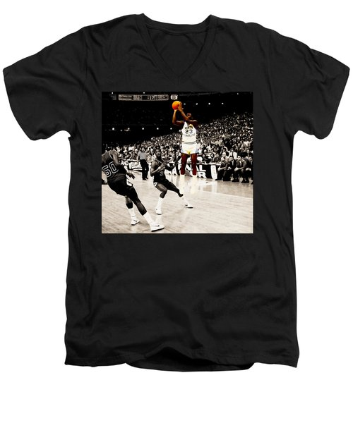 Air Jordan Unc Last Shot Men's V-Neck T-Shirt by Brian Reaves