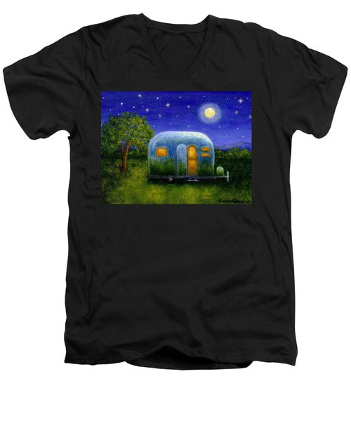 Airstream Camper Under The Stars Men's V-Neck T-Shirt by Sandra Estes