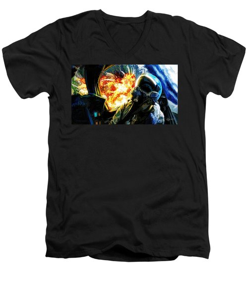 Men's V-Neck T-Shirt featuring the painting Air To Ground by Dave Luebbert