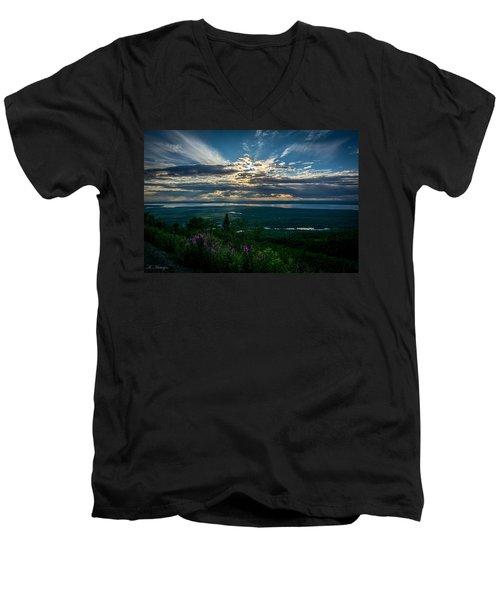 Alaskan Summer Sunset Men's V-Neck T-Shirt by Andrew Matwijec