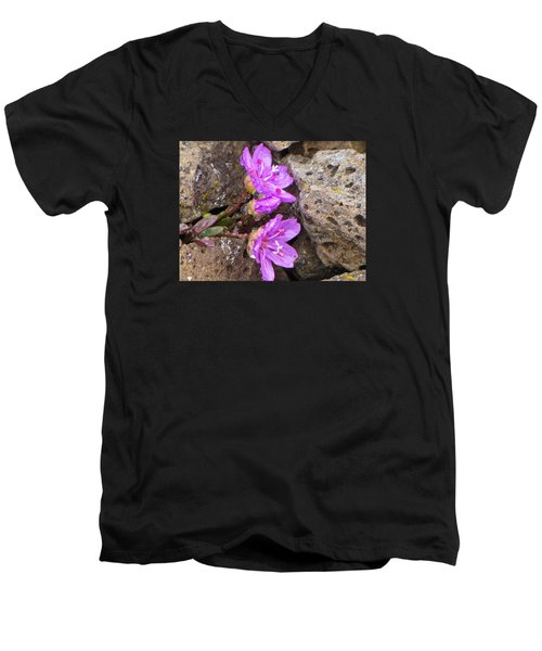 Men's V-Neck T-Shirt featuring the photograph Alaskan Wildflower by Julie Andel