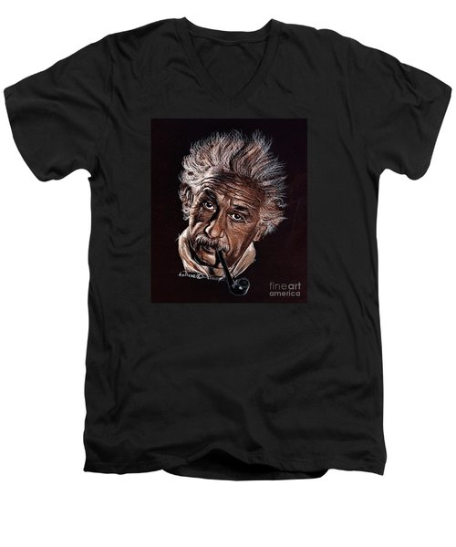 Albert Einstein Portrait Men's V-Neck T-Shirt