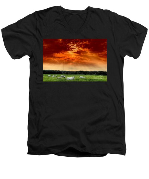 Men's V-Neck T-Shirt featuring the photograph Alberta Canada Cattle Herd Hdr Sky Clouds Forest by Paul Fearn