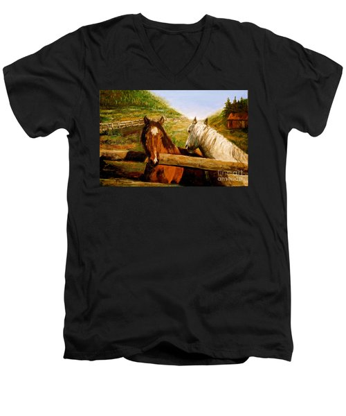 Men's V-Neck T-Shirt featuring the painting Alberta Horse Farm by Sher Nasser