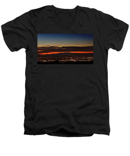 Albuquerque Sunset Men's V-Neck T-Shirt by Marlo Horne