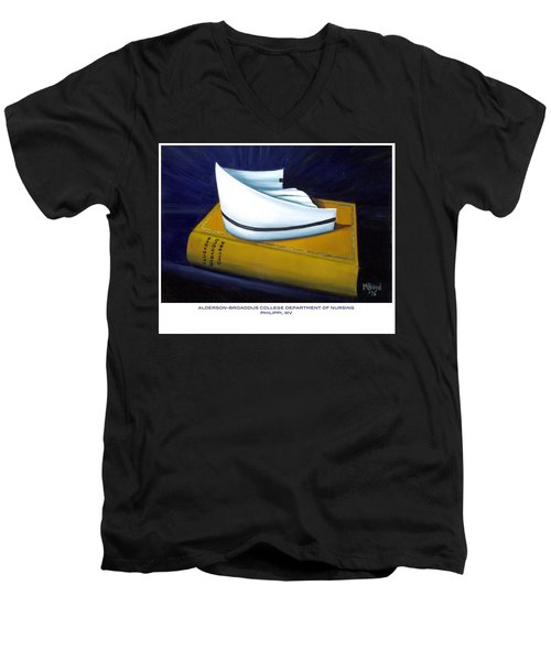 Men's V-Neck T-Shirt featuring the painting Alderson-broaddus College by Marlyn Boyd