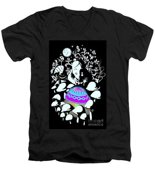Alice's Magic Discovery Men's V-Neck T-Shirt by Sassan Filsoof