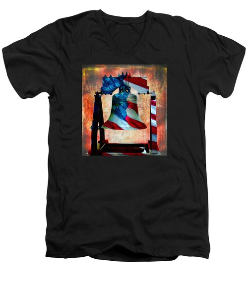 Liberty Bell Art Smooth All American Series Men's V-Neck T-Shirt by Lesa Fine