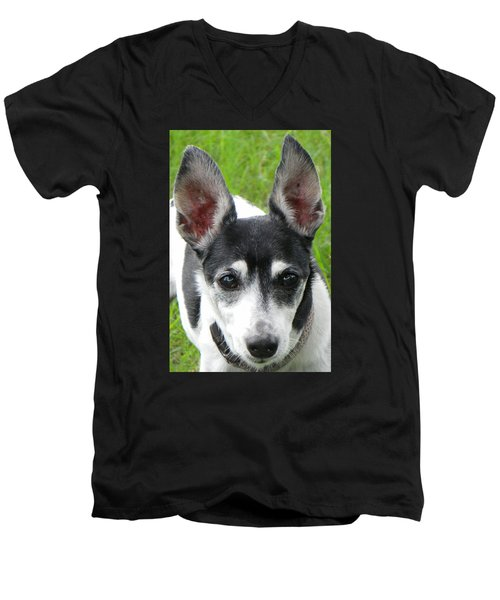 Men's V-Neck T-Shirt featuring the photograph All Ears by Rosalie Scanlon