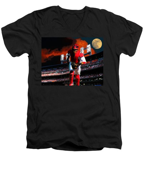 All Star Yadier Molina Men's V-Neck T-Shirt by John Freidenberg