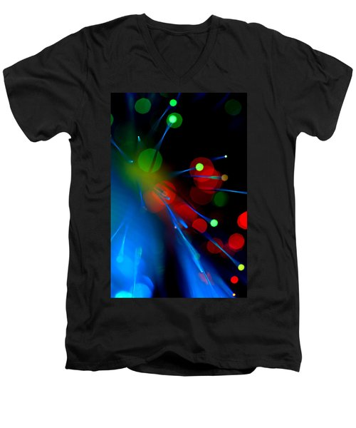 Men's V-Neck T-Shirt featuring the photograph All Through The Night by Dazzle Zazz