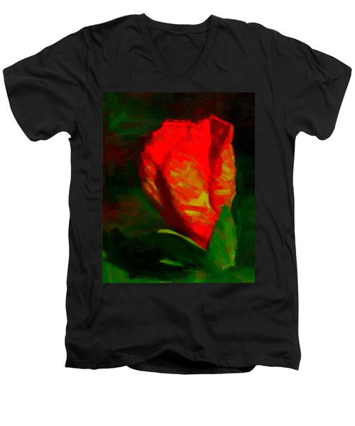 Men's V-Neck T-Shirt featuring the painting All Went Wrong by Joe Misrasi