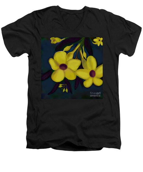 Men's V-Neck T-Shirt featuring the digital art Allamandas At Night by Latha Gokuldas Panicker