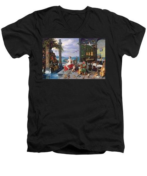 Allegory Of Music Oil On Canvas Men's V-Neck T-Shirt