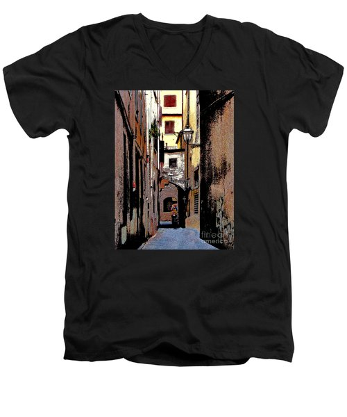 Men's V-Neck T-Shirt featuring the digital art Alley In Florence 2 Digitized by Jennie Breeze
