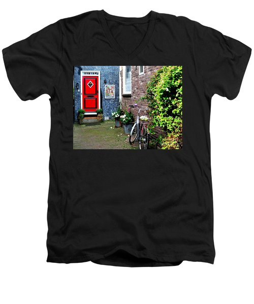 Men's V-Neck T-Shirt featuring the photograph Alleyway In Dutch Village by Joe  Ng
