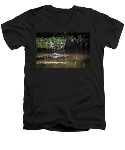 Alligator Swimming In Bayou 2 Men's V-Neck T-Shirt