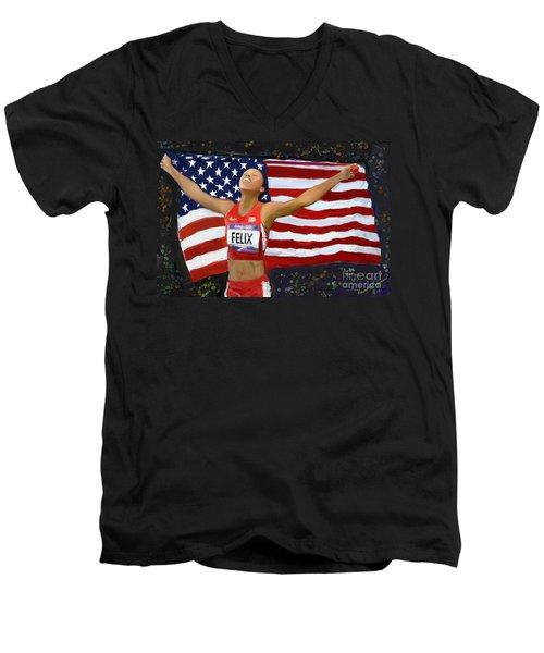 Allison Felix Olympian Gold Metalist Men's V-Neck T-Shirt by Vannetta Ferguson